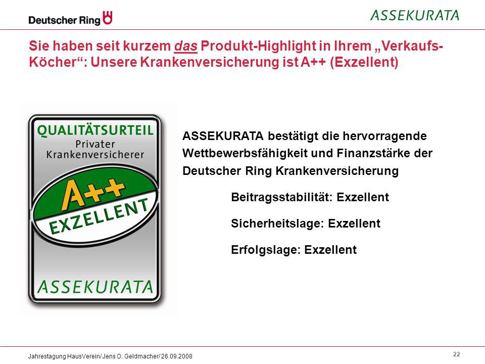22 Jahrestagung HausVerein/ Jens O. Geldmacher/ 26.09.2008 ASSEKURATA bestätigt die hervorragende Wettbewerbsfähigkeit und Finanzstärke der Deutscher