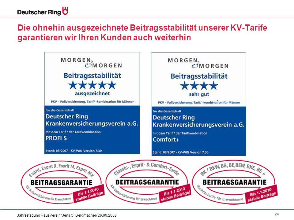 24 Jahrestagung HausVerein/ Jens O. Geldmacher/ 26.09.2008 Die ohnehin ausgezeichnete Beitragsstabilität unserer KV-Tarife garantieren wir Ihren Kunde