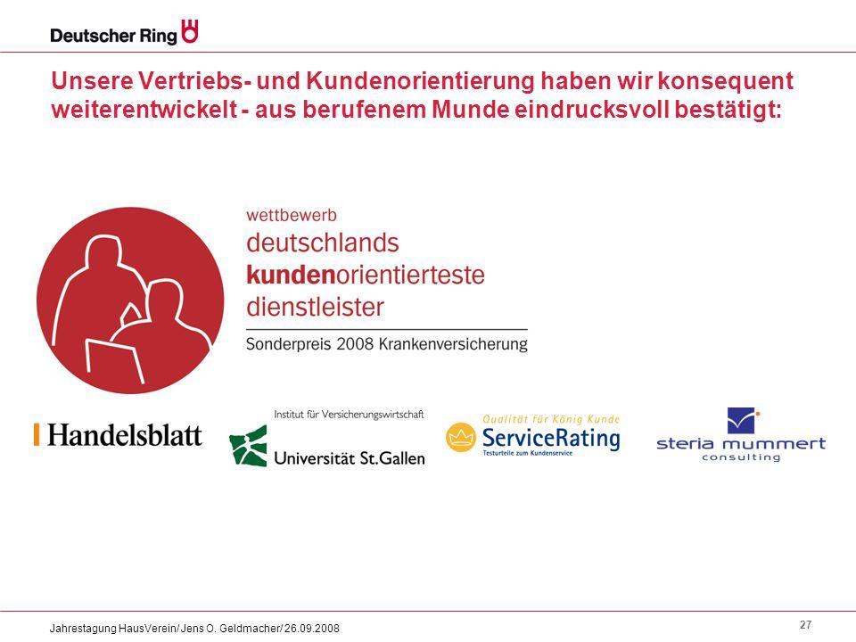 27 Jahrestagung HausVerein/ Jens O. Geldmacher/ 26.09.2008 Unsere Vertriebs- und Kundenorientierung haben wir konsequent weiterentwickelt - aus berufe