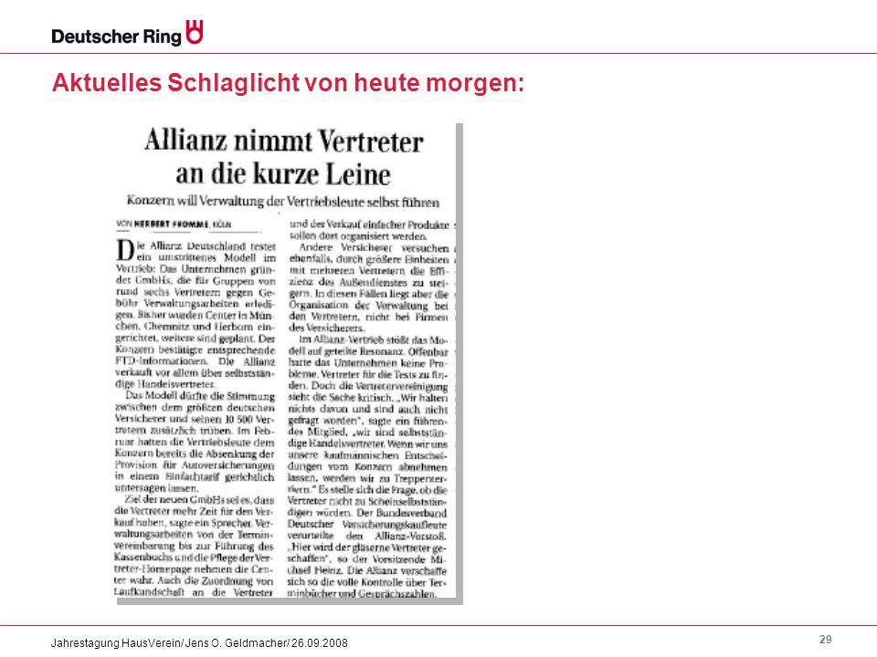 29 Jahrestagung HausVerein/ Jens O. Geldmacher/ 26.09.2008 Aktuelles Schlaglicht von heute morgen: