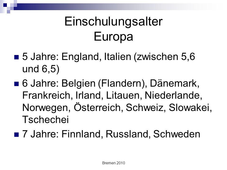 Bremen 2010 Einschulungsalter Europa 5 Jahre: England, Italien (zwischen 5,6 und 6,5) 6 Jahre: Belgien (Flandern), Dänemark, Frankreich, Irland, Litau