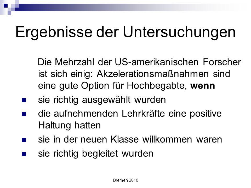 Bremen 2010 Frühe Einschulung Ken McCluskey et al. 1997