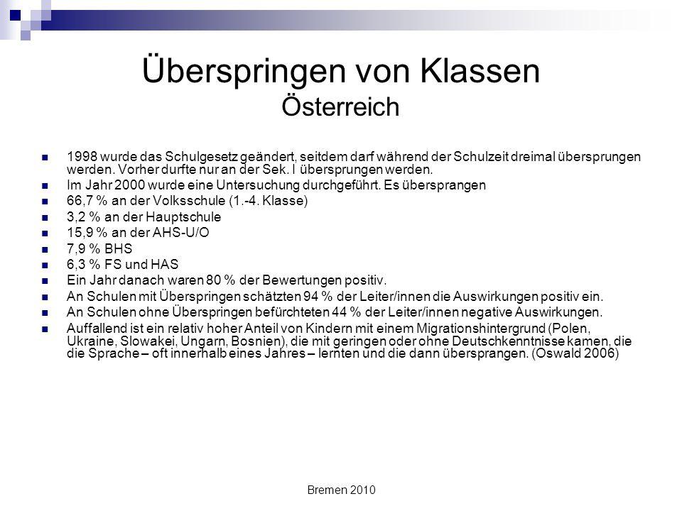 Bremen 2010 Überspringen von Klassen Österreich 1998 wurde das Schulgesetz geändert, seitdem darf während der Schulzeit dreimal übersprungen werden. V
