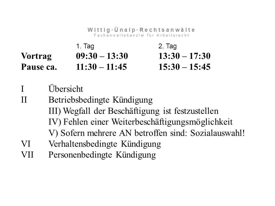 VII Personenbedingte Kündigung III Alkohol Fahrplan bei Alkohol im Betrieb: -Eingangsuntersuchung einführen -Untersuchungspflicht während des Arbverh.