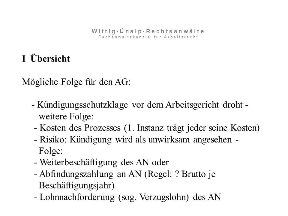 I Übersicht Mögliche Folge für den AG: - Kündigungsschutzklage vor dem Arbeitsgericht droht - weitere Folge: - Kosten des Prozesses (1.