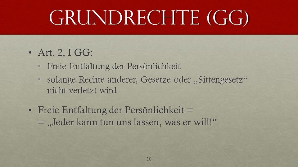 Grundrechte (GG) Art. 2, I GG:Art. 2, I GG: Freie Entfaltung der PersönlichkeitFreie Entfaltung der Persönlichkeit solange Rechte anderer, Gesetze ode