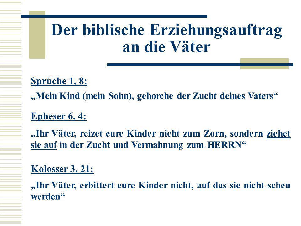 """Sprüche 1, 8: """"Mein Kind (mein Sohn), gehorche der Zucht deines Vaters"""" Epheser 6, 4: """"Ihr Väter, reizet eure Kinder nicht zum Zorn, sondern ziehet si"""