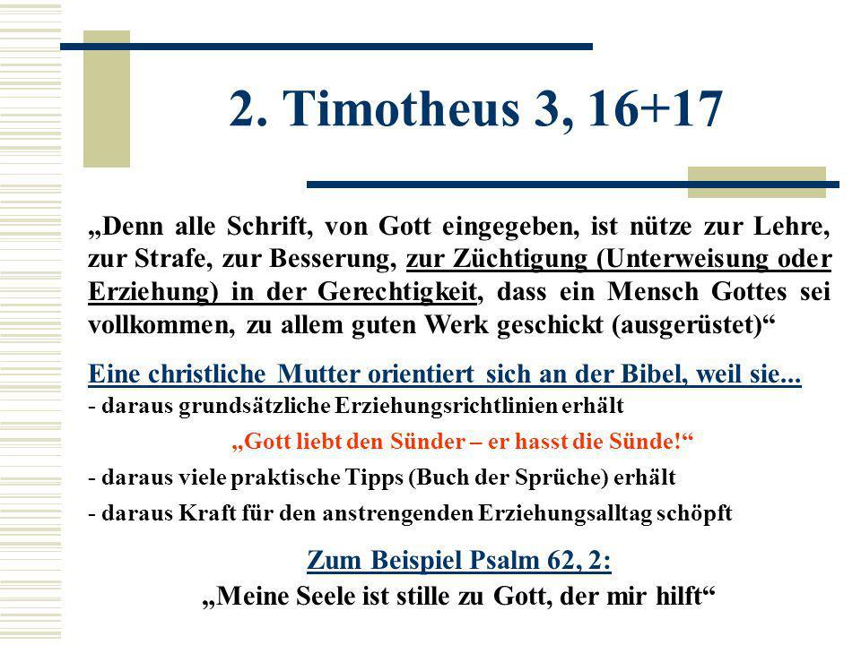 """""""Denn alle Schrift, von Gott eingegeben, ist nütze zur Lehre, zur Strafe, zur Besserung, zur Züchtigung (Unterweisung oder Erziehung) in der Gerechtig"""