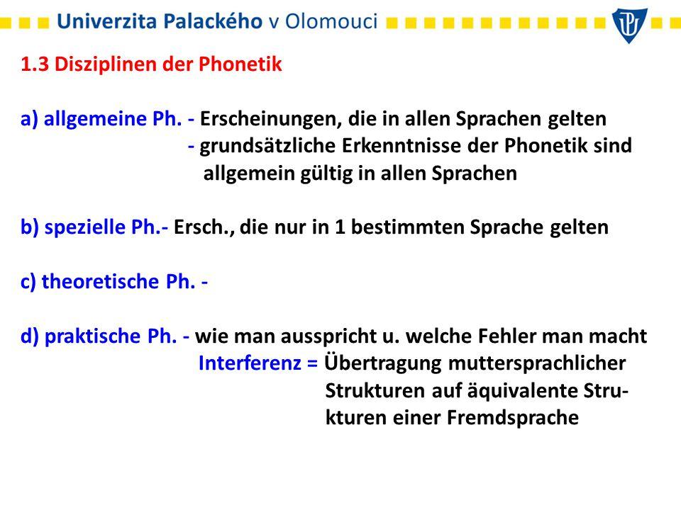 1.3 Disziplinen der Phonetik a) allgemeine Ph. - Erscheinungen, die in allen Sprachen gelten - grundsätzliche Erkenntnisse der Phonetik sind allgemein