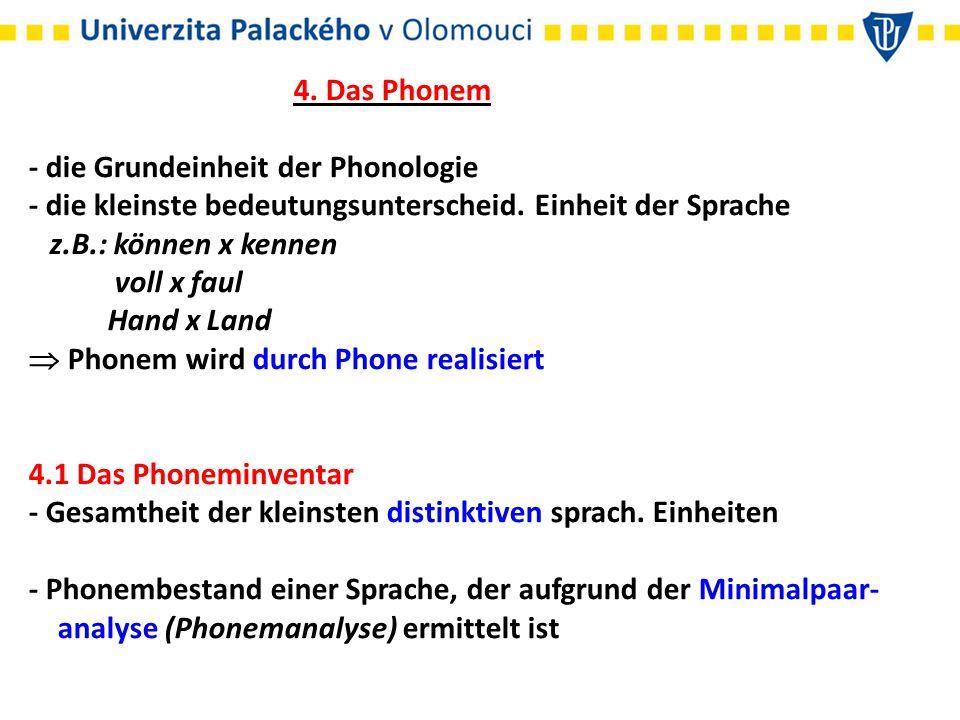 Minimalpaar = 2 Wörter, die sich durch ein einziges Phonem unterscheiden z.B.: packe x backe /p/ x /b/ voll x faul /o/ x /au/ langen x lachen /ŋ/ x /x/ - was im Deutschen ein Phonem ist, muss nicht in einer anderen Sprache distinktiv sein z.B.: /e/ oder /ö/ sind im Tschechischen keine Phoneme - der dt.