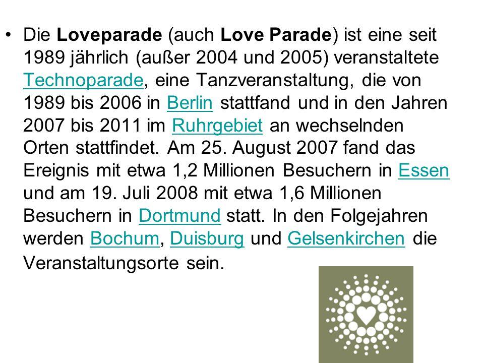 Die Loveparade (auch Love Parade) ist eine seit 1989 jährlich (außer 2004 und 2005) veranstaltete Technoparade, eine Tanzveranstaltung, die von 1989 bis 2006 in Berlin stattfand und in den Jahren 2007 bis 2011 im Ruhrgebiet an wechselnden Orten stattfindet.