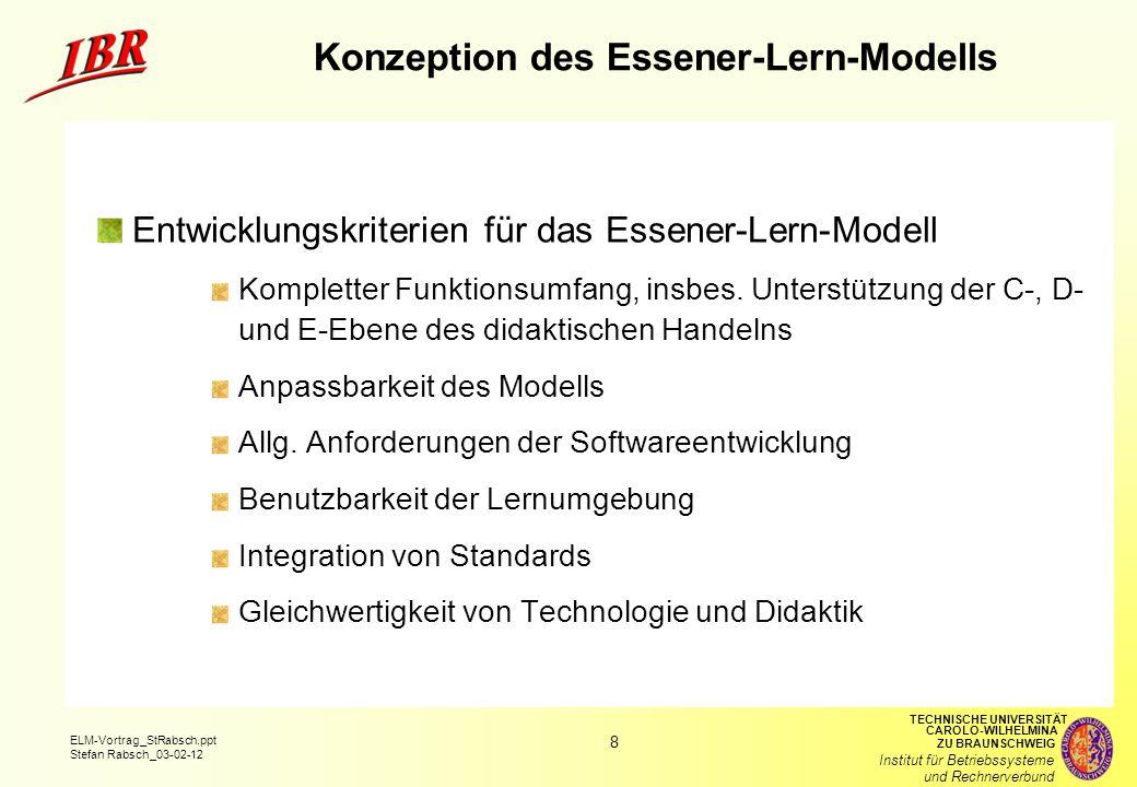 9 ELM-Vortrag_StRabsch.ppt Stefan Rabsch_03-02-12 TECHNISCHE UNIVERSITÄT ZU BRAUNSCHWEIG CAROLO-WILHELMINA Institut für Betriebssysteme und Rechnerverbund ELM-Vorgehensmodell Entwicklungsschritte Verhandlung Anpassung Entwicklung Entwicklungsebenen C-Ebene (ELM-C) D-Ebene (ELM-D) E-Ebene (ELM-D)