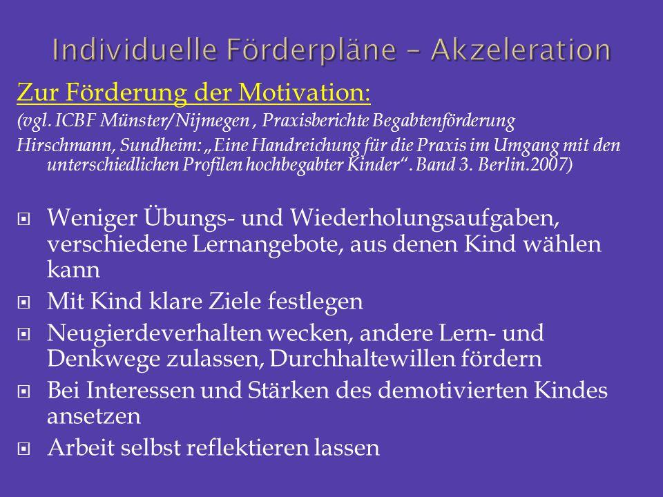 """Zur Förderung der Motivation: (vgl. ICBF Münster/ Nijmegen, Praxisberichte Begabtenförderung Hirschmann, Sundheim: """"Eine Handreichung für die Praxis i"""