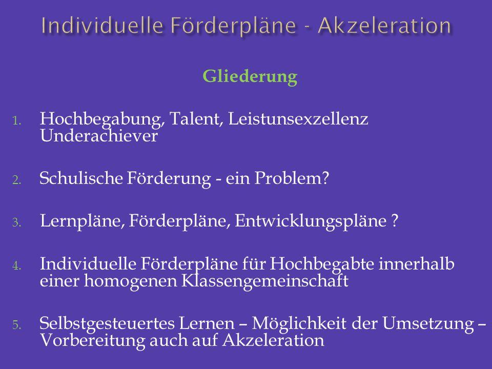 Gliederung 1. Hochbegabung, Talent, Leistunsexzellenz Underachiever 2. Schulische Förderung - ein Problem? 3. Lernpläne, Förderpläne, Entwicklungsplän