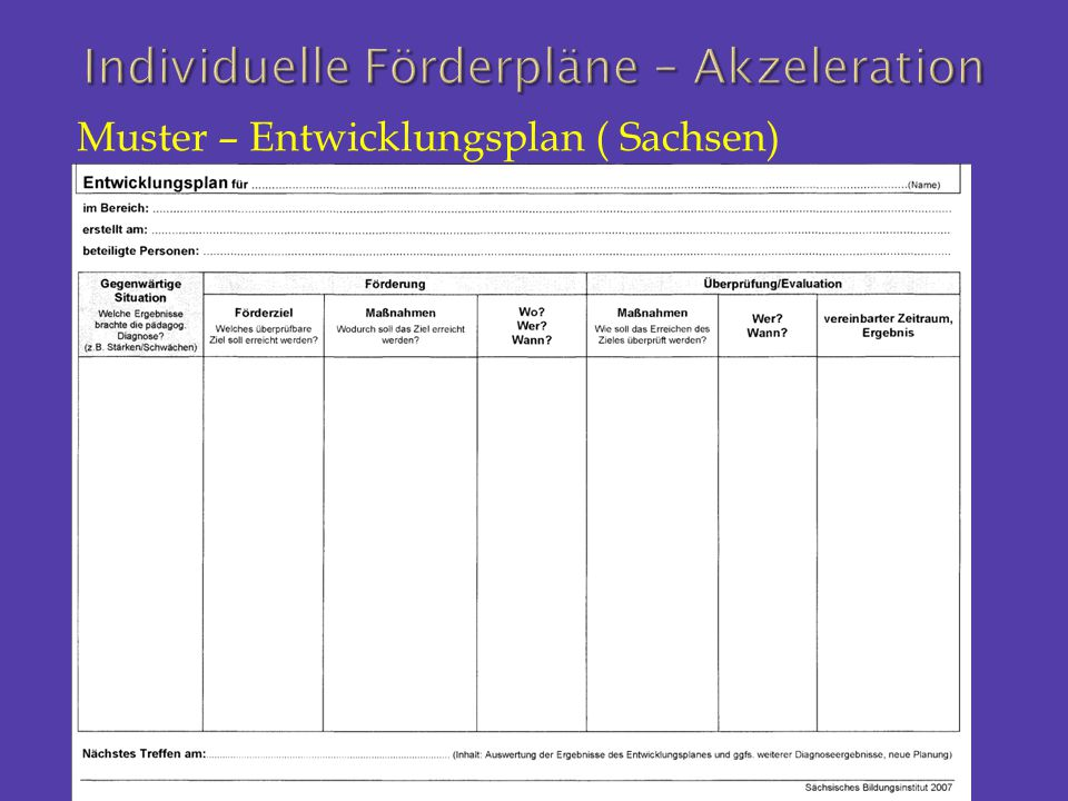 Muster – Entwicklungsplan ( Sachsen)