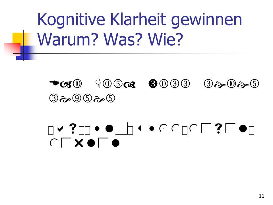 11 Kognitive Klarheit gewinnen Warum? Was? Wie?   D  K    