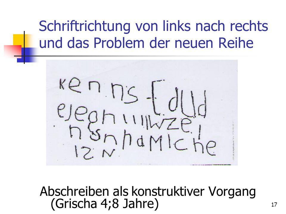 17 Schriftrichtung von links nach rechts und das Problem der neuen Reihe Abschreiben als konstruktiver Vorgang (Grischa 4;8 Jahre)