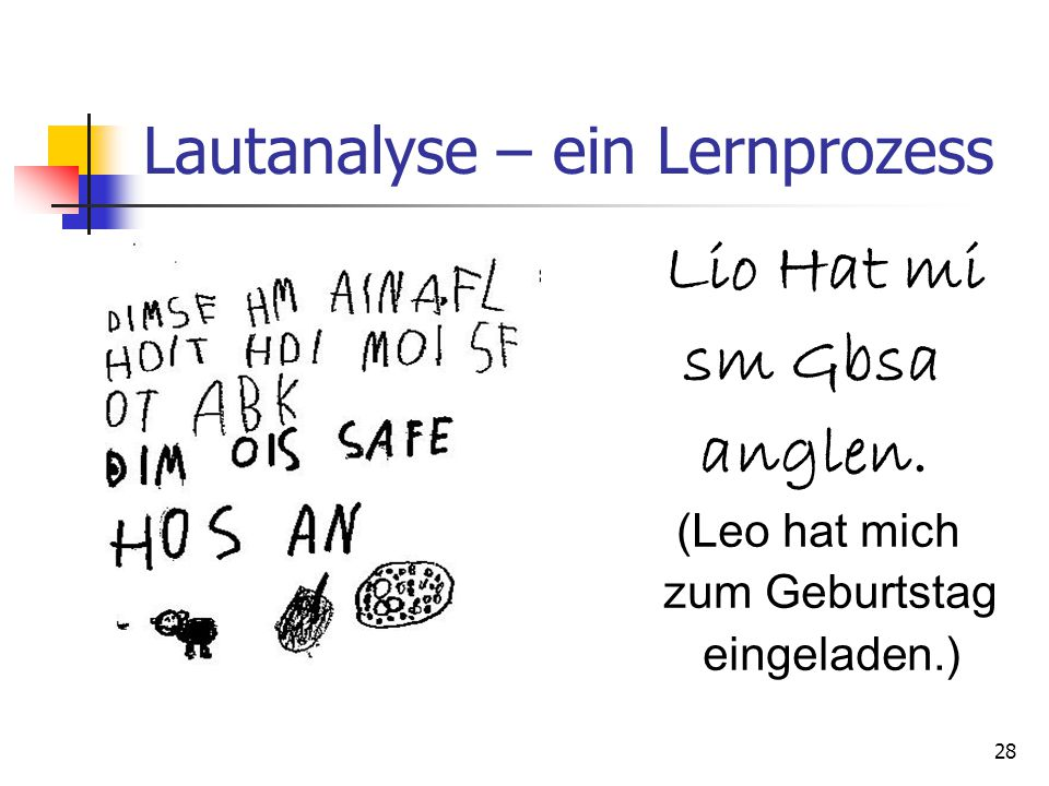 28 Lautanalyse – ein Lernprozess Lio Hat mi sm Gbsa anglen. (Leo hat mich zum Geburtstag eingeladen.)