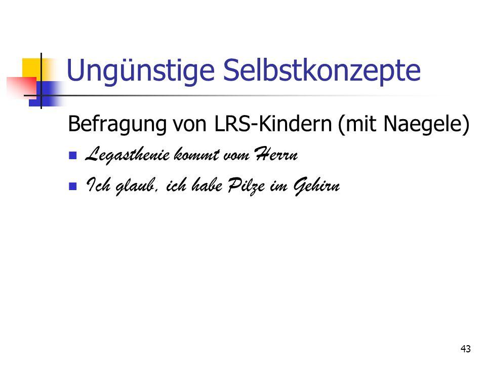 Ungünstige Selbstkonzepte Befragung von LRS-Kindern (mit Naegele) Legasthenie kommt vom Herrn Ich glaub, ich habe Pilze im Gehirn 43