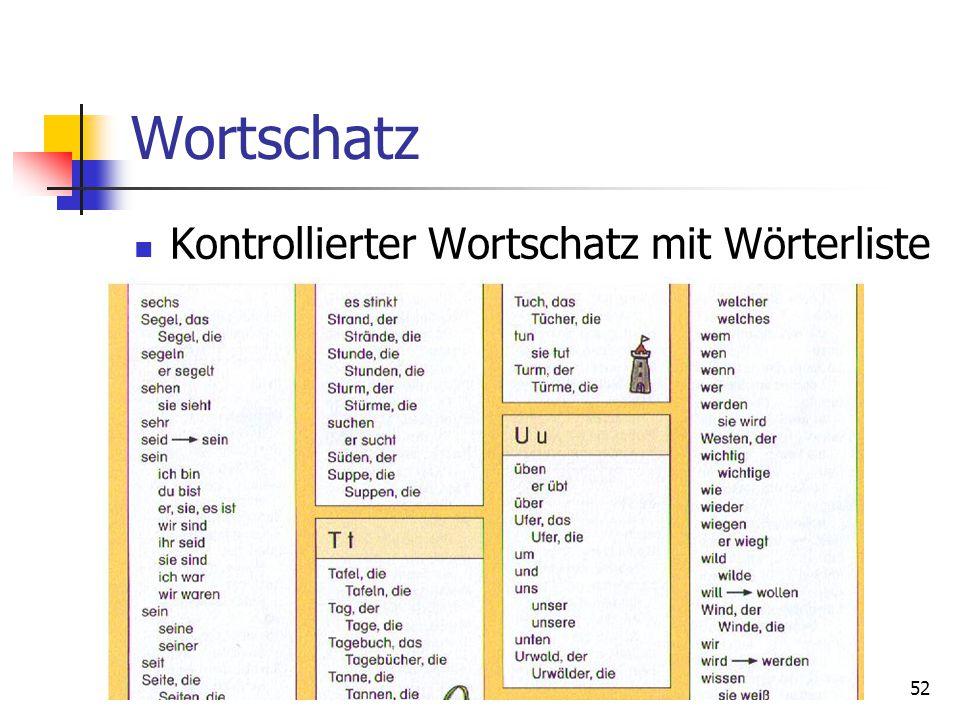 52 Wortschatz Kontrollierter Wortschatz mit Wörterliste