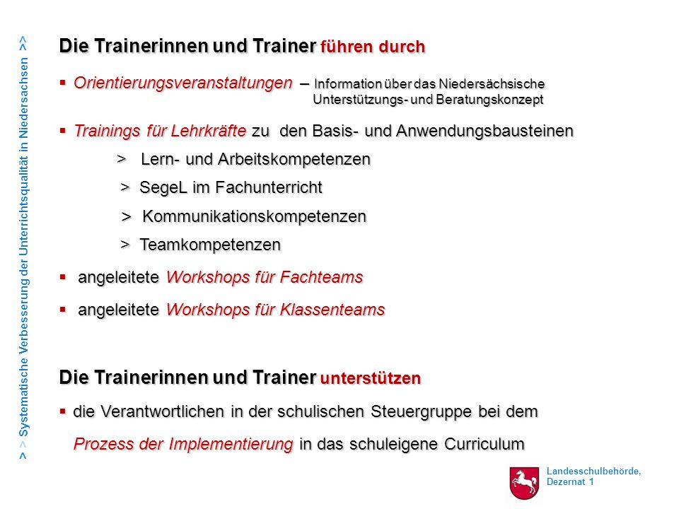 Landesschulbehörde, Dezernat 1 > > Systematische Verbesserung der Unterrichtsqualität in Niedersachsen >> Die Trainerinnen und Trainer  Orientierungs