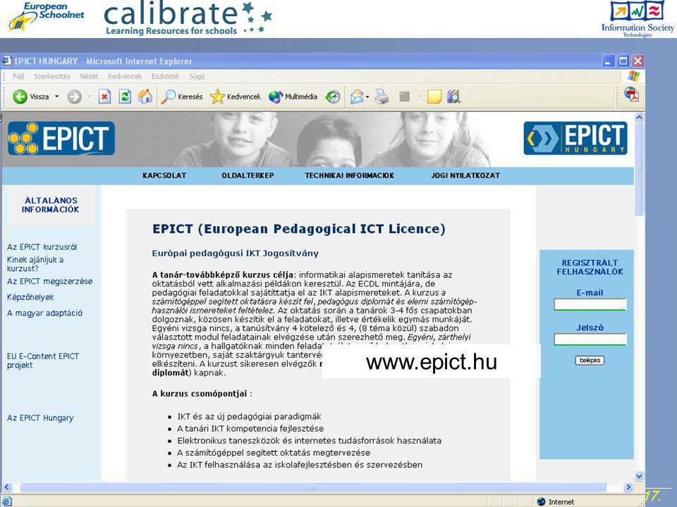 http://calibrate.eun.org 17. Project Meeting, 7- 8 September 2006. www.epict.hu