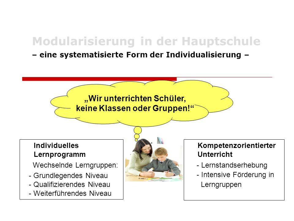"""Modularisierung in der Hauptschule – eine systematisierte Form der Individualisierung – """"Wir unterrichten Schüler, keine Klassen oder Gruppen!"""" Indivi"""