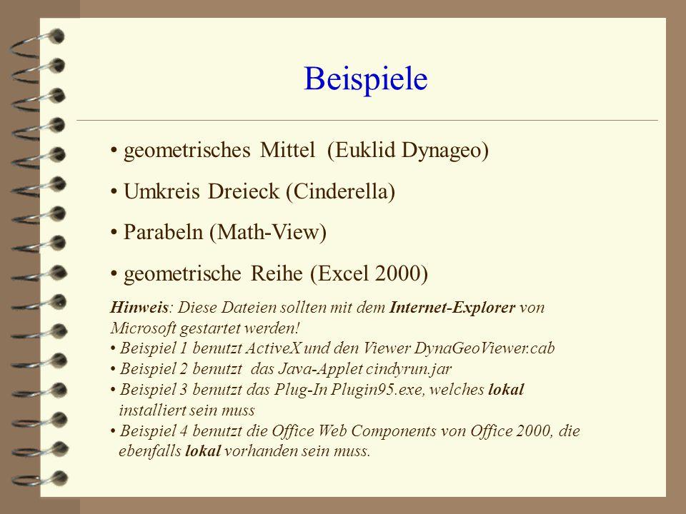 Beispiele geometrisches Mittel (Euklid Dynageo) Umkreis Dreieck (Cinderella) Parabeln (Math-View) geometrische Reihe (Excel 2000) Hinweis: Diese Datei