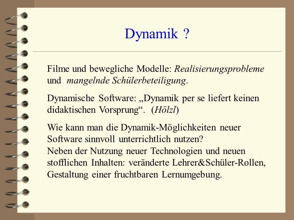 """Dynamik ? Filme und bewegliche Modelle: Realisierungsprobleme und mangelnde Schülerbeteiligung. Dynamische Software: """"Dynamik per se liefert keinen di"""