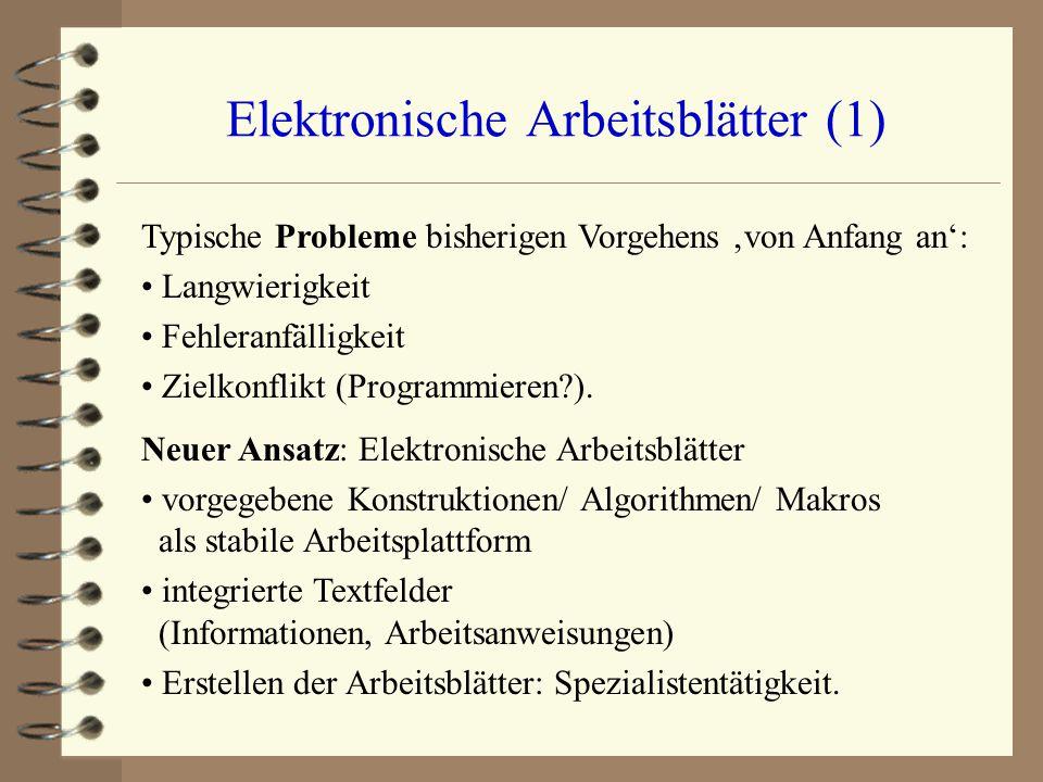 Elektronische Arbeitsblätter (1) Typische Probleme bisherigen Vorgehens 'von Anfang an': Langwierigkeit Fehleranfälligkeit Zielkonflikt (Programmieren