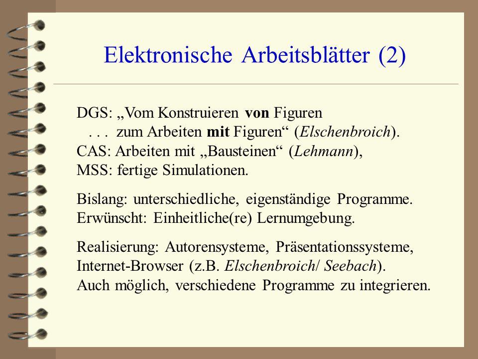 """Elektronische Arbeitsblätter (2) DGS: """"Vom Konstruieren von Figuren... zum Arbeiten mit Figuren"""" (Elschenbroich). CAS: Arbeiten mit """"Bausteinen"""" (Lehm"""