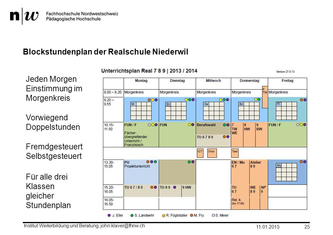 Blockstundenplan der Realschule Niederwil 11.01.2015 Institut Weiterbildung und Beratung, john.klaver@fhnw.ch 25 Vorwiegend Doppelstunden Fremdgesteue