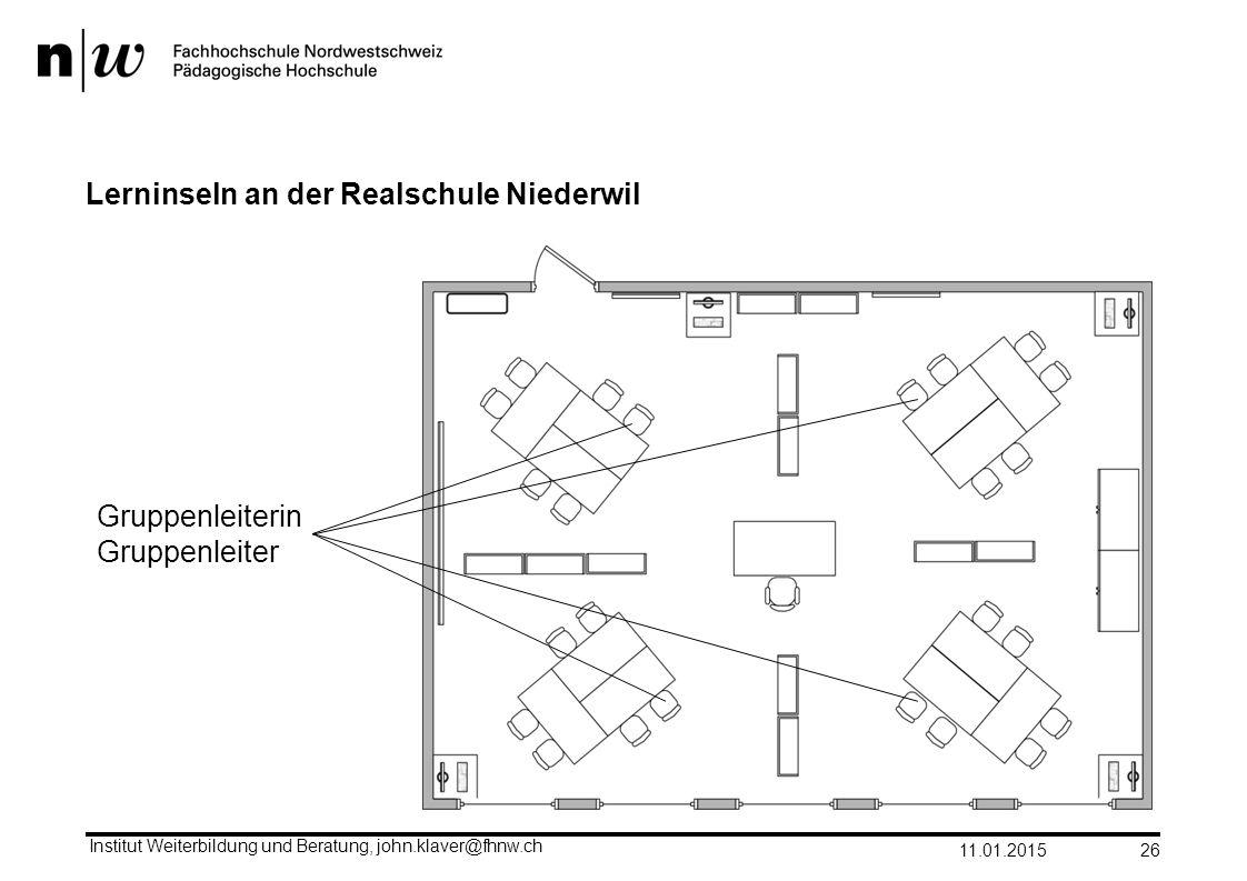 Lerninseln an der Realschule Niederwil 11.01.2015 Institut Weiterbildung und Beratung, john.klaver@fhnw.ch 26 Gruppenleiterin Gruppenleiter