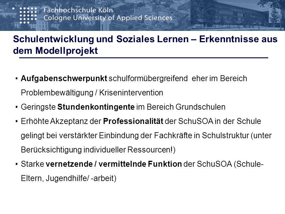 Schulentwicklung und Soziales Lernen – Erkenntnisse aus dem Modellprojekt alle Schulformen, insb.