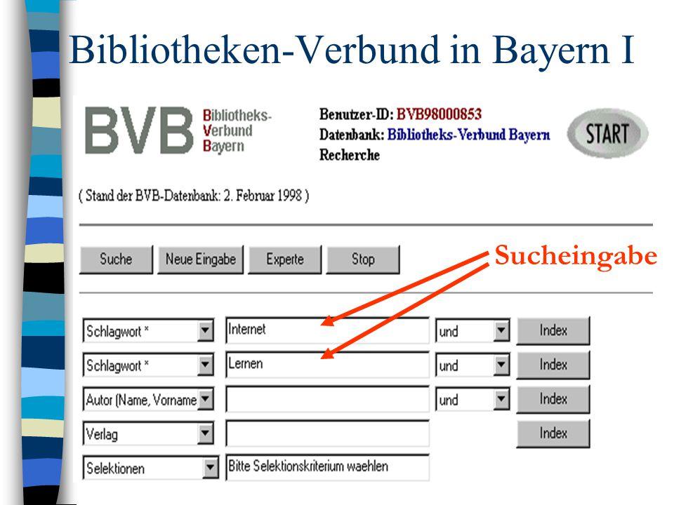 Bibliotheken-Verbund in Bayern I Sucheingabe
