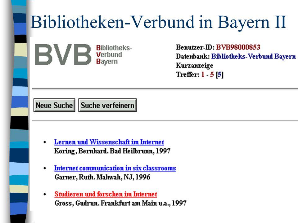Bibliotheken-Verbund in Bayern II