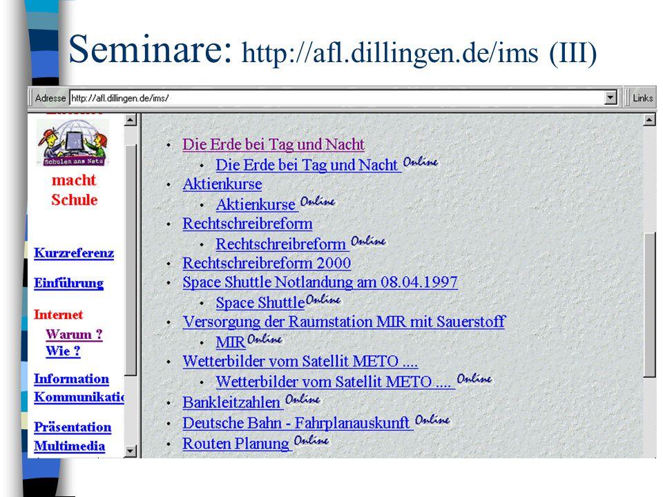 Seminare: http://afl.dillingen.de/ims (III)