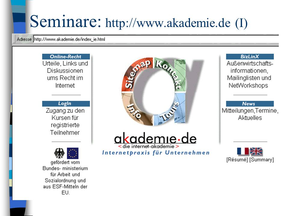 Seminare: http://www.akademie.de (I)