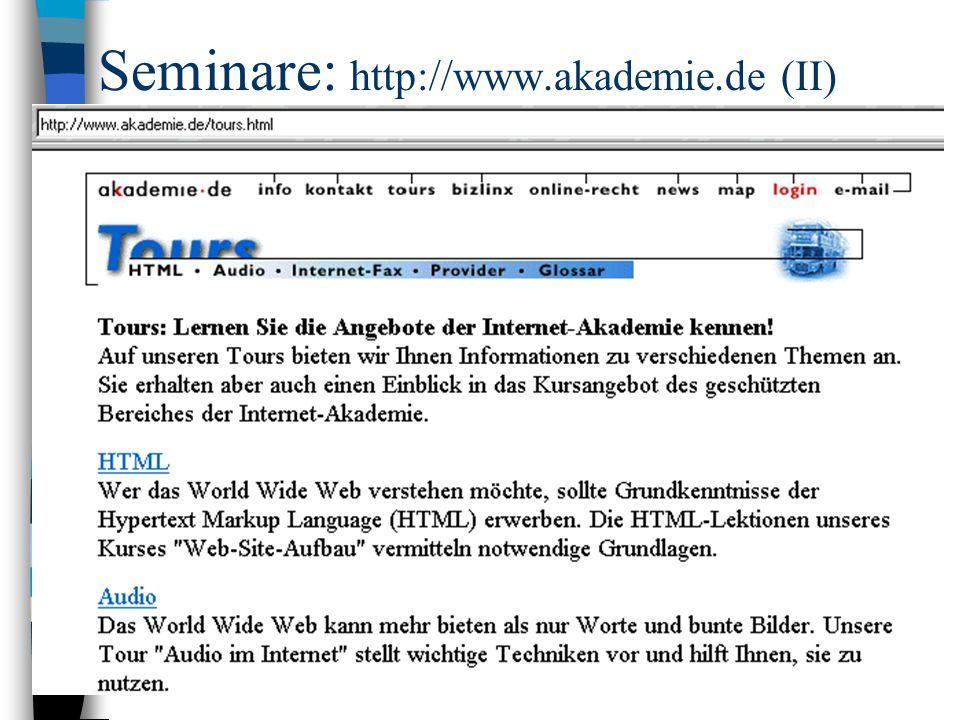 Seminare: http://www.akademie.de (II)