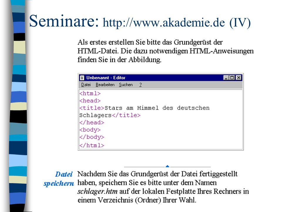 Seminare: http://www.akademie.de (IV)