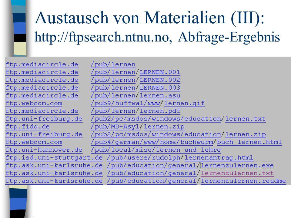 Austausch von Materialien (III): http://ftpsearch.ntnu.no, Abfrage-Ergebnis