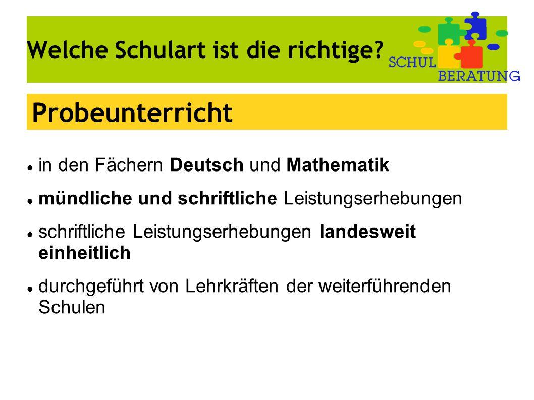 Welche Schulart ist die richtige? in den Fächern Deutsch und Mathematik mündliche und schriftliche Leistungserhebungen schriftliche Leistungserhebunge