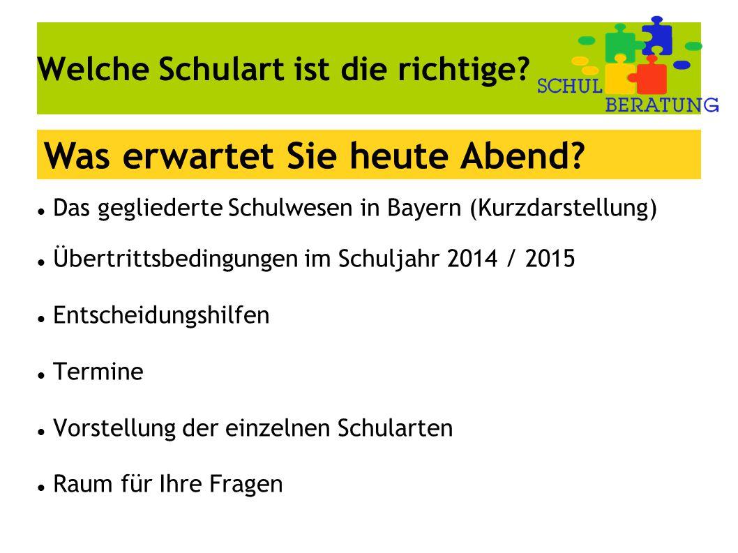 Welche Schulart ist die richtige? Das gegliederte Schulwesen in Bayern (Kurzdarstellung) Übertrittsbedingungen im Schuljahr 2014 / 2015 Entscheidungsh