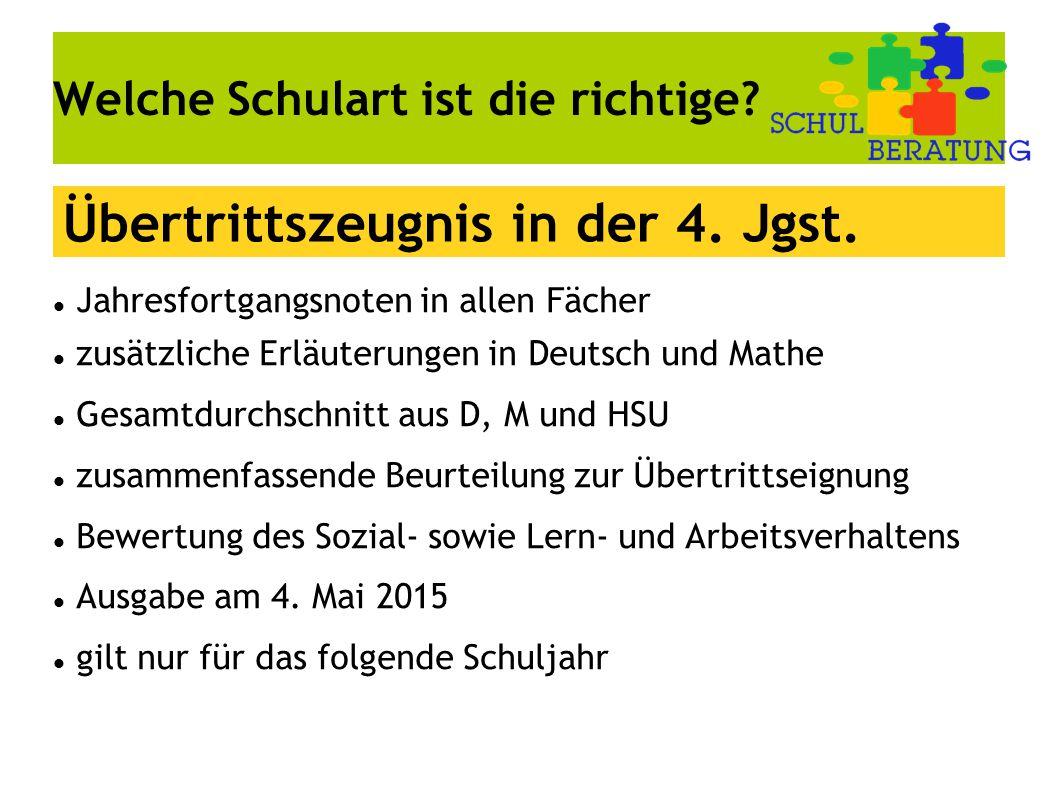 Welche Schulart ist die richtige? Jahresfortgangsnoten in allen Fächer zusätzliche Erläuterungen in Deutsch und Mathe Gesamtdurchschnitt aus D, M und