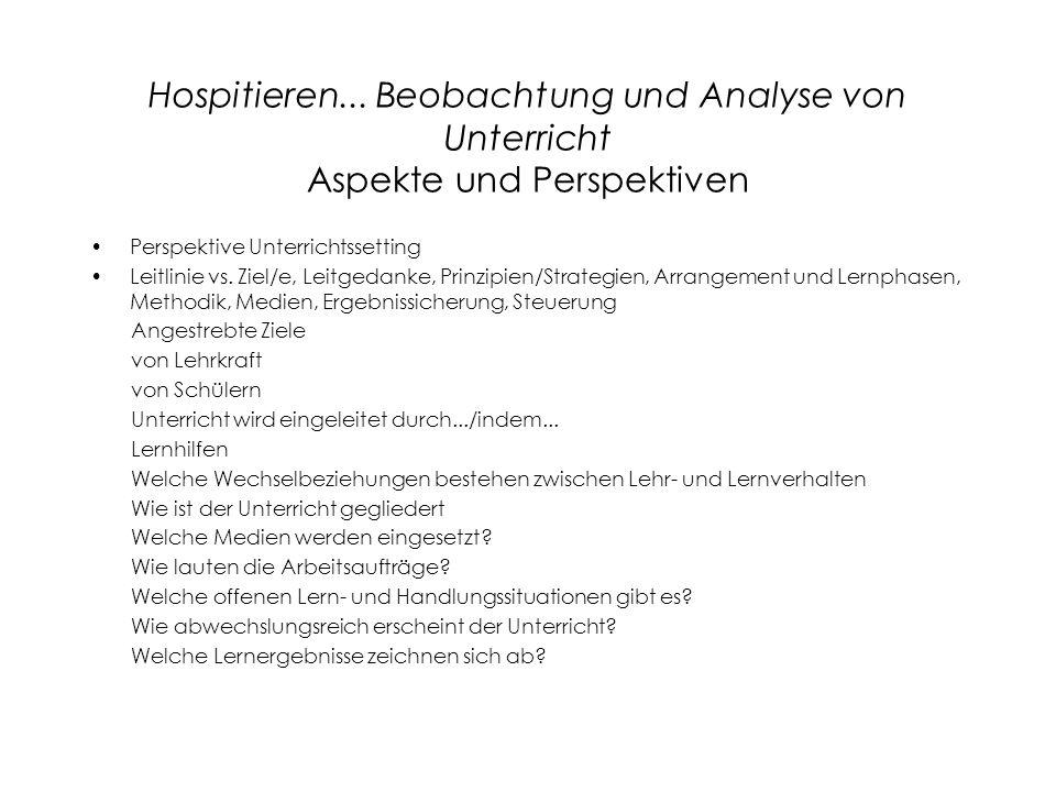 Hospitieren... Beobachtung und Analyse von Unterricht Aspekte und Perspektiven Perspektive Unterrichtssetting Leitlinie vs. Ziel/e, Leitgedanke, Prinz