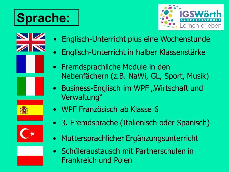 Sprache: Englisch-Unterricht in halber Klassenstärke WPF Französisch ab Klasse 6 Fremdsprachliche Module in den Nebenfächern (z.B.
