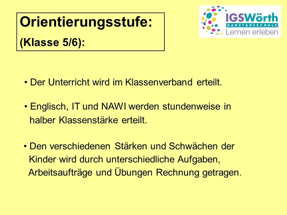Orientierungsstufe: (Klasse 5/6): Der Unterricht wird im Klassenverband erteilt.