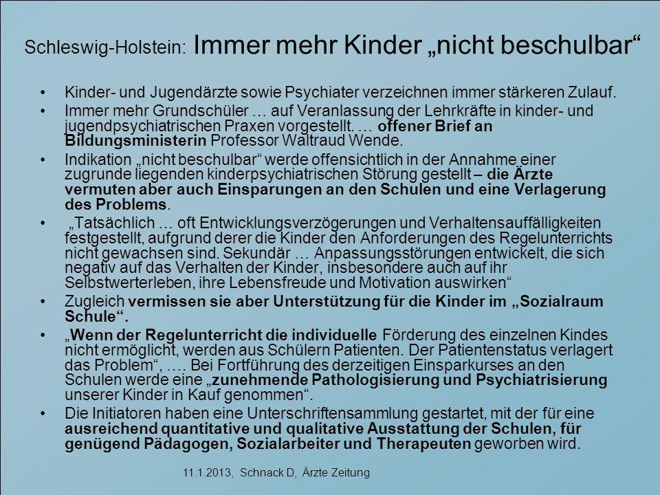 """Schleswig-Holstein: Immer mehr Kinder """"nicht beschulbar Kinder- und Jugendärzte sowie Psychiater verzeichnen immer stärkeren Zulauf."""