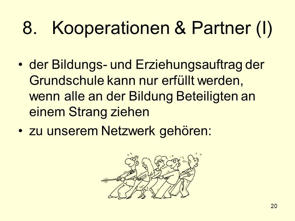 20 8.Kooperationen & Partner (I) der Bildungs- und Erziehungsauftrag der Grundschule kann nur erfüllt werden, wenn alle an der Bildung Beteiligten an