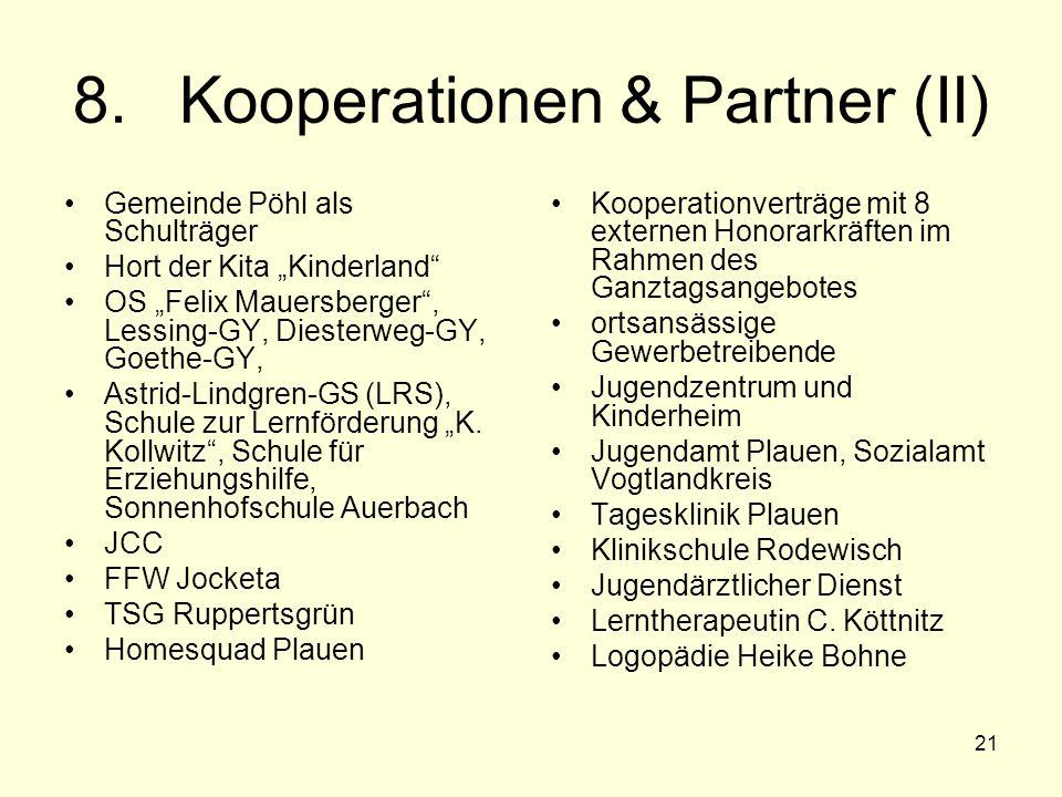 "21 8.Kooperationen & Partner (II) Gemeinde Pöhl als Schulträger Hort der Kita ""Kinderland"" OS ""Felix Mauersberger"", Lessing-GY, Diesterweg-GY, Goethe-"
